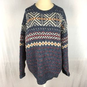 Cozy knit wool sweater geometric stripes blue gray